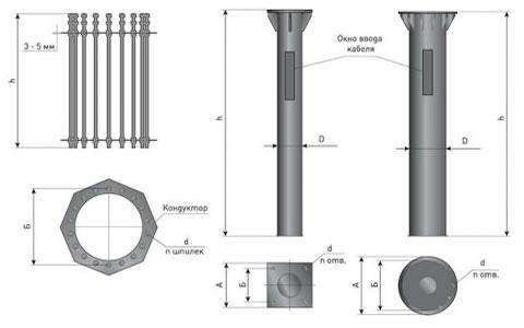 Фундамент металлический (опор МКС-ф)