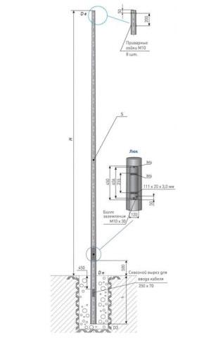 Опора освещения несиловая прямостоечная круглоконическая тип НПК