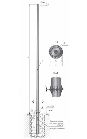Опора силовая фланцевая граненая наружного освещения тип ТФГ